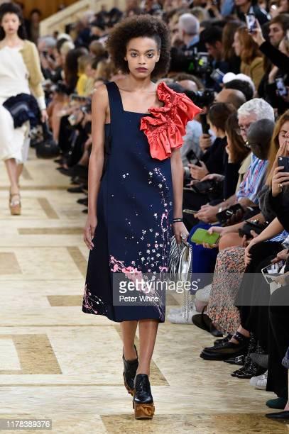 Alexis Sundman walks the runway during the Miu Miu Womenswear Spring/Summer 2020 show as part of Paris Fashion Week on October 01, 2019 in Paris,...