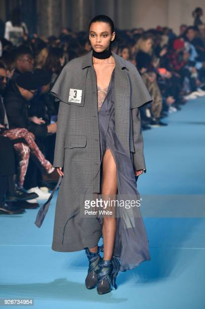 Alexis Sundman walks the runway during the OffWhite show as part of the Paris Fashion Week Womenswear Fall/Winter 2018/2019 on March 1 2018 in Paris...