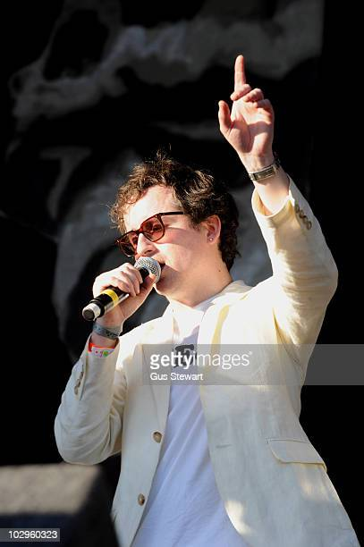 Alexis Taylor of Hot Chip performs on stage during the third and final day of Lovebox at Victoria Park on July 18 2010 in London England