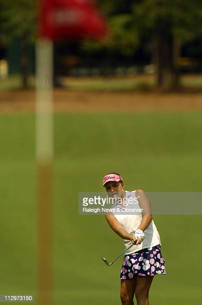 Alexis Thompson hits a shot toward the first hole green during the second round of the US Women's Open at Pine Needles in Southern Pines North...