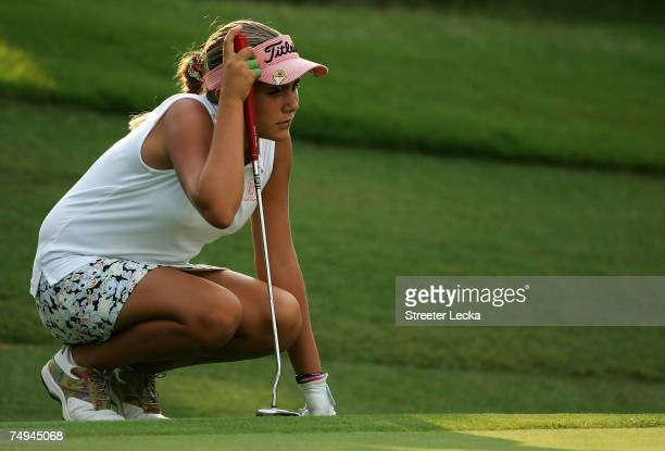 Alexis Thompson lines up a putt on the 12th green during round one of the US Women's Open Championship at Pine Needles Lodge Golf Club on June 28...