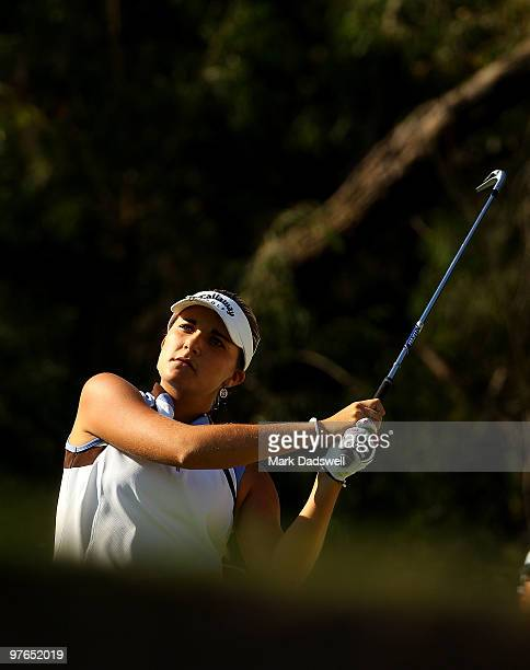 Alexis Thompson of the USA plays her tee shot on the 15th hole during round two of the 2010 Women's Australian Open at The Commonwealth Golf Club on...
