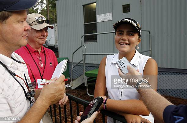 Alexis Thompson talks with reporters after she finished the second round of the US Women's Open at Pine Needles in Southern Pines North Carolina...