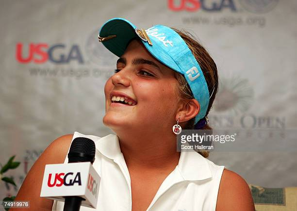 Alexis Thompson who qualified at age 12 for the US Women's Open chats with the media prior to the start of the US Women's Open Championship at Pine...