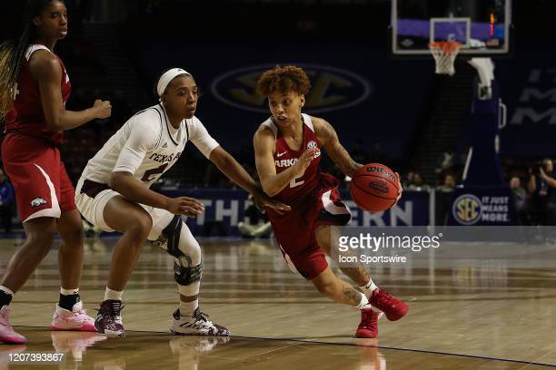 Alexis Tolefree of Arkansas during the SEC Women's College basketball tournament game between the Arkansas Razorbacks and the Texas AM Aggies on...