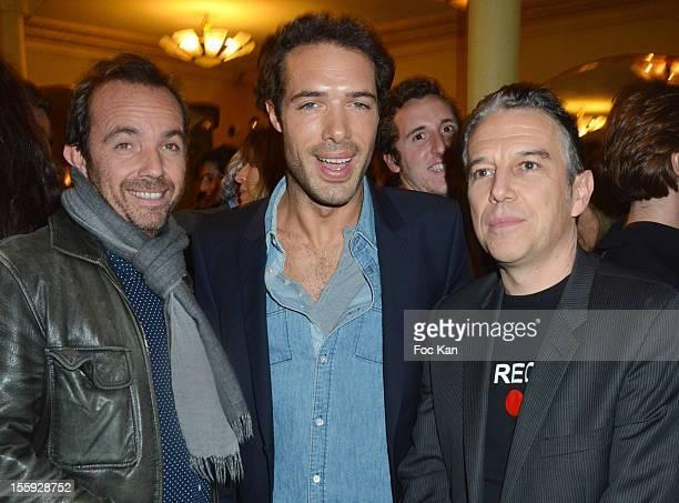 Alexis Tregarot Nicolas Bedos and Philippe Vandel attend the 'Prix De Flore 2012' Literary Award Ceremony Party at the Cafe de Flore on November 8...