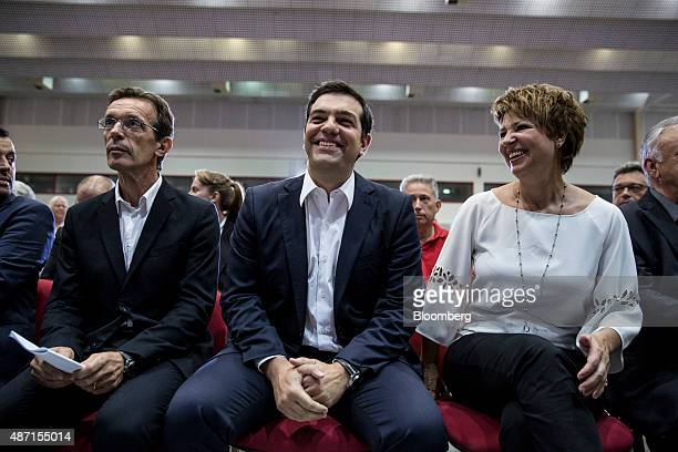 Alexis Tsipras former Greek prime minister and leader of the Syriza party sits as he prepares to give his speech at the Thessaloniki International...