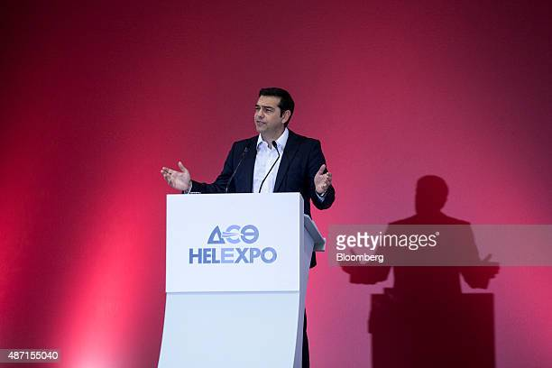 Alexis Tsipras former Greek prime minister and leader of the Syriza party speaks at the Thessaloniki International Trade Fair in Thessaloniki Greece...