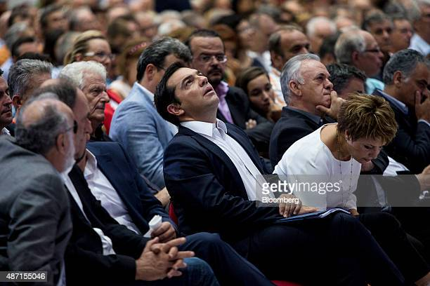 Alexis Tsipras former Greek prime minister and leader of the Syriza party sits at the Thessaloniki International Trade Fair in Thessaloniki Greece on...