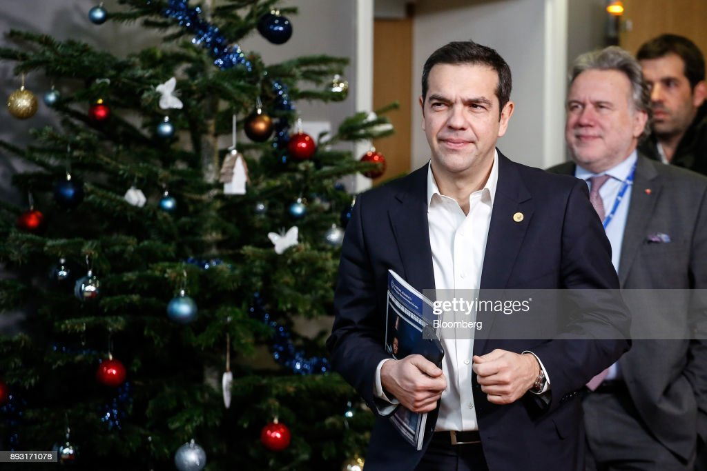 Alexis Tsipras, Greece's prime minister, leaves after attending a European Union (EU) leaders summit at the Europa Building in Brussels, Belgium, early on Friday, Dec. 15, 2017. U.K. Prime Minister Theresa May asked European leaders to be creative and to persevere to reach a deal when Brexit negotiations move on to trade. Photographer: Dario Pignatelli/Bloomberg via Getty Images