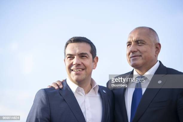 Alexis Tsipras Greece's prime minister left is greeted by Boyko Borissov Bulgaria's prime minister as he arrives for an informal dinner at Sofia Tech...