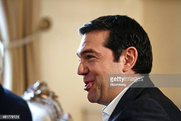 Alexis Tsipras Greece's prime minister reacts as he arrives at the presidential palace to attend a meeting with the Greek president and leaders of...