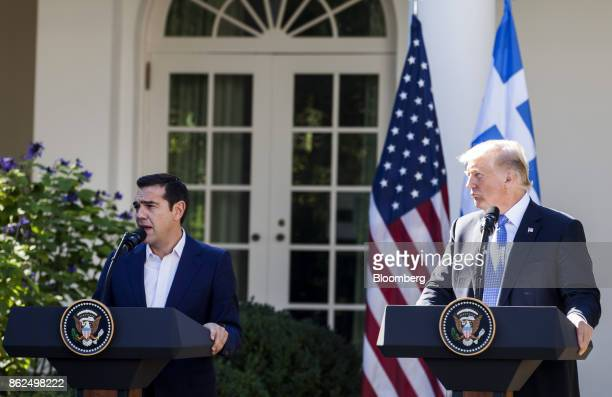 Alexis Tsipras Greece's prime minister speaks as US President Donald Trump right listens during a joint press conference in the Rose Garden of the...