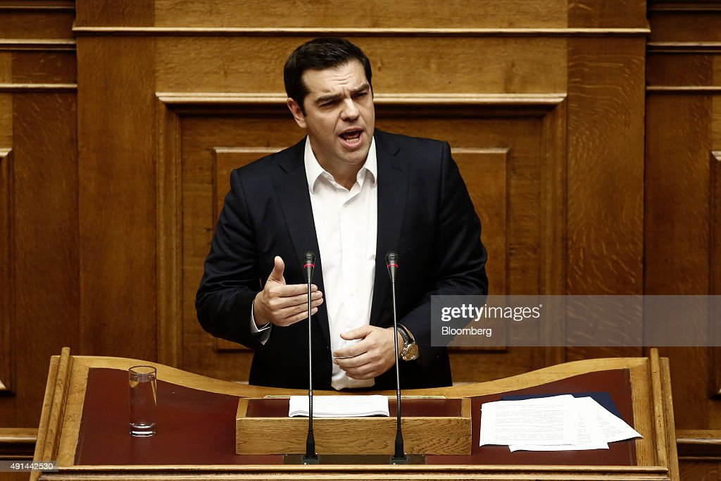 Alexis Tsipras, Greece's prime minister, speaks at the Greek parliament as he unveils his 2016 budget in Athens, Greece, on Monday, Oct. 5, 2015. Tsipras is trying to contain the economic fallout from the six months of wrangling with creditors that preceded the July deal. Photographer: Kostas Tsironis/Bloomberg via Getty Images