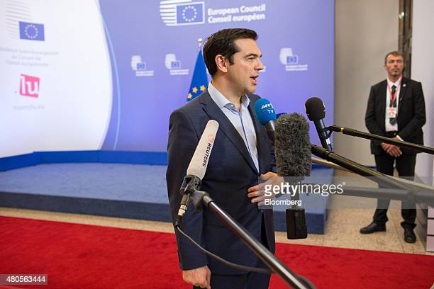 Alexis Tsipras Greece's prime minister speaks to journalists following allnight bailout talks in Brussels Belgium on Monday July 13 2015 Tsipras...