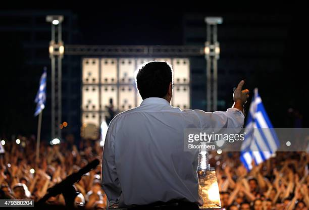 Alexis Tsipras Greece's prime minister speaks to supporters during a rally against accepting bailout conditions on Syntagma Square in Athens Greece...