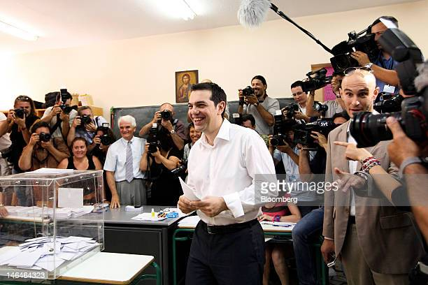 Alexis Tsipras leader of Greece's Syriza party arrives to cast his vote in the second round of the Greek general elections at a polling station in...