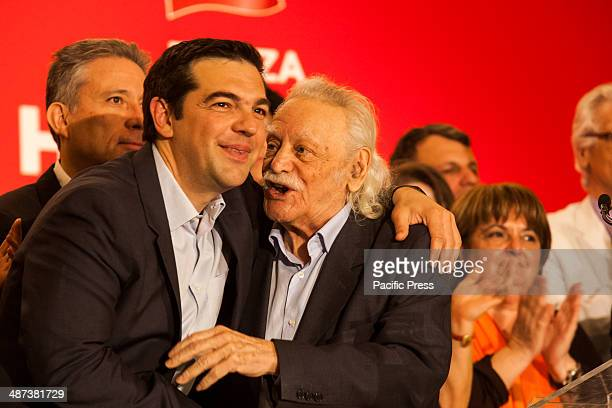 Alexis Tsipras leader of Syriza in Greece hugs Manolis Glezos the flagship member of Syriza when presenting the ballot for the EU Parliamentary...