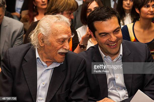Alexis Tsipras leader of Syriza in Greece presents the ballot for the EU Parliamentary Elections Manolis Glezos the flagship member of Syriza is seen...