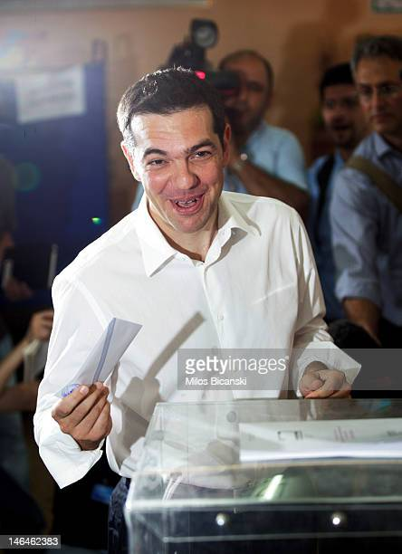 Alexis Tsipras leader of Syriza Party casts his vote at a polling station on June 17 2012 in Athens Greece The Greek electorate go to the polls in a...