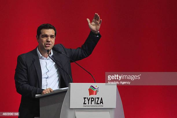 Alexis Tsipras Leader of the Coalition of the Radical Left attends a preelection rally of the party in Athens Greece on January 3 2015