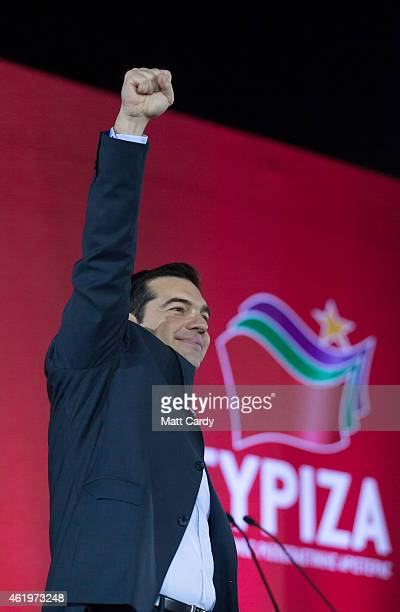 Alexis Tsipras leader of the radical leftist Syriza party campaigns at a preelection rally ahead of this weekend's general election on January 22...