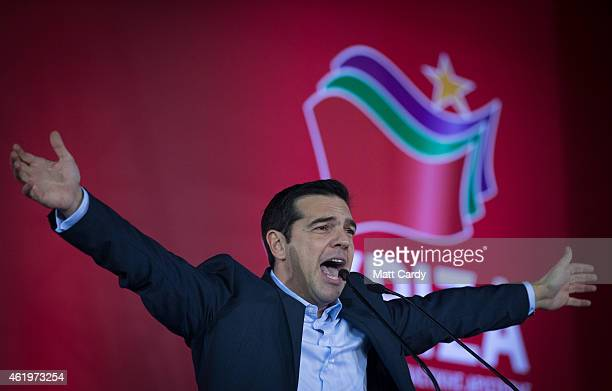 Alexis Tsipras, leader of the radical leftist Syriza party campaigns at a pre-election rally ahead of this weekend's general election on January 22,...