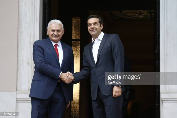 PM Alexis Tsipras meets meets Prime Minister of Turkey Binali Yildirim at Maximos mansion in Athens on June 19 2017 Yildirim will also visit the...