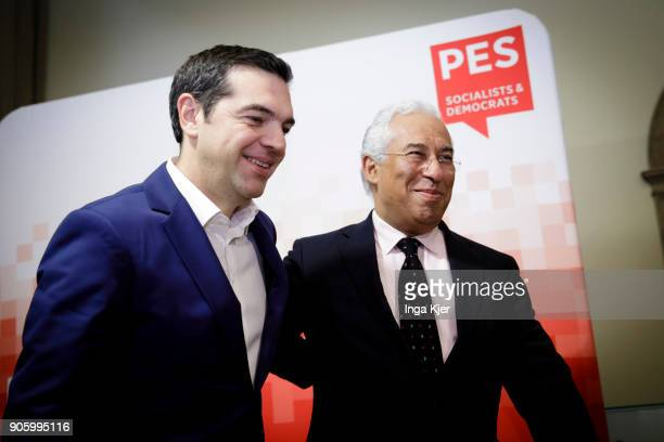 Alexis Tsipras Prime Minister of Greece and Antonio Costa Prime Minister of Portugal in the course of the PES party congress on December 01 2017 in...