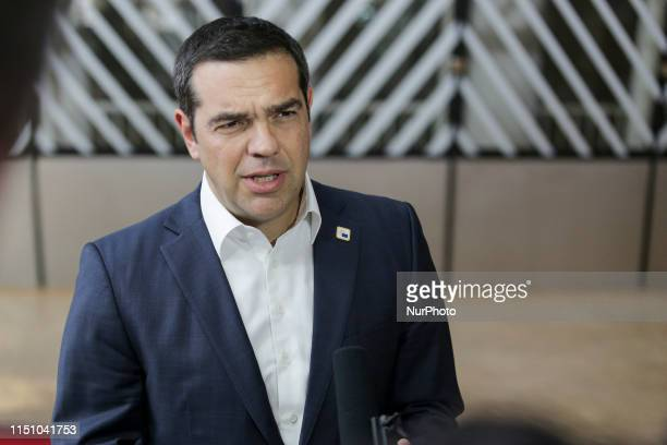 Alexis Tsipras prime minister of Greece and president of SYRIZA political party attending and having a stand up press statement mentioning Turkey and...