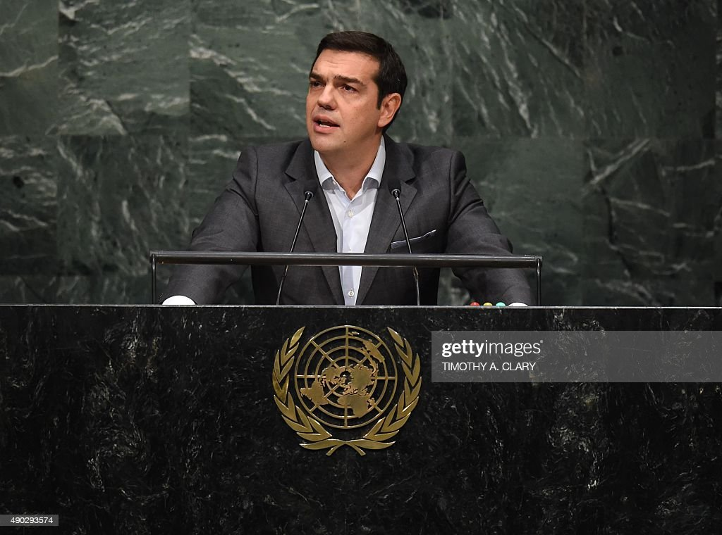 Alexis Tsipras, Prime Minister of Greece, speaks to the United Nations Sustainable Development Summit at the United Nations General Assembly in New York on September 27, 2015.