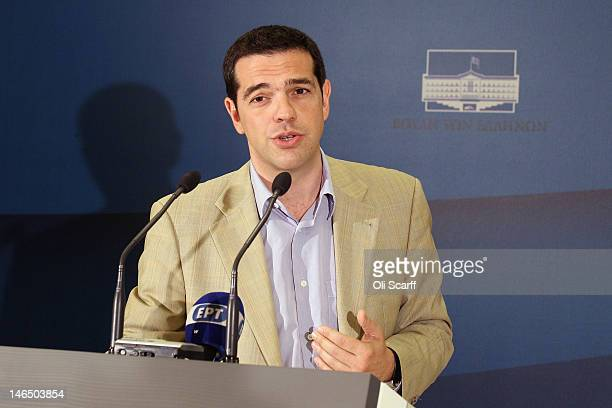 Alexis Tsipras the leader of the Syriza party attends a press conference in the Parliament building following a meeting with Antonis Samaras the...