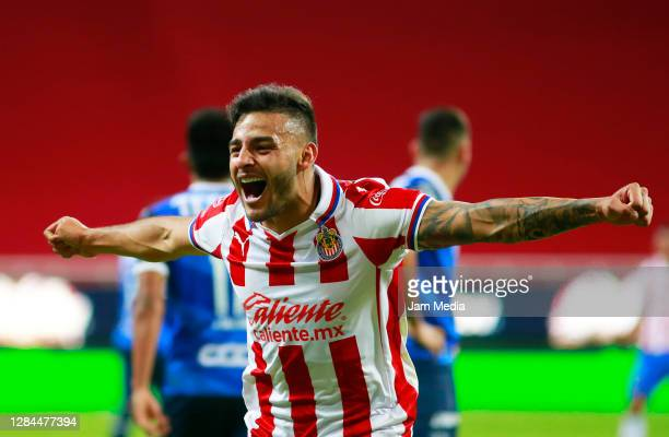 Alexis Vega of Chivas celebrates after scoring the second goal of his team during the 17th round match between Chivas and Monterrey as part of the...