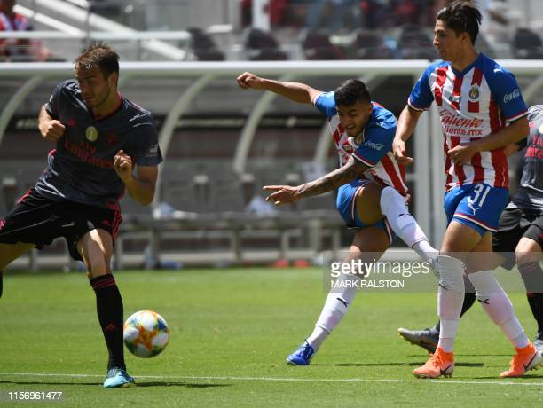 Alexis Vega of Chivas de Guadalajara shoots for goal against Benfica during their 2019 International Champions Cup match at the Levi's Stadium in...