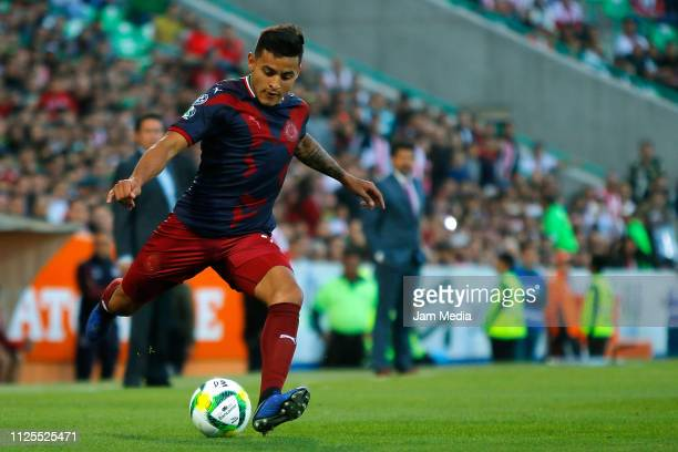 Alexis Vega of Chivas kicks the ball during the 4th round match between Santos Laguna and Chivas as part of the Torneo Clausura 2019 Liga MX at...