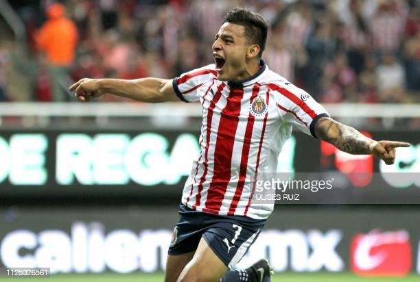 Alexis Vega of Guadalajara celebrates his goal against Atlas during their Mexican Clausura 2019 tournament football match at Akron stadium in...