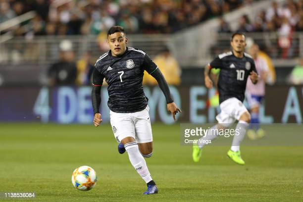Alexis Vega of Mexico controls the ball during the friendly match between Paraguay and Mexico at Levi's Stadium on March 26 2019 in Santa Clara...