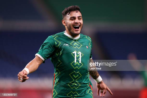 Alexis Vega of Team Mexico celebrates after scoring their side's third goal during the Men's Bronze Medal Match between Mexico and Japan on day...