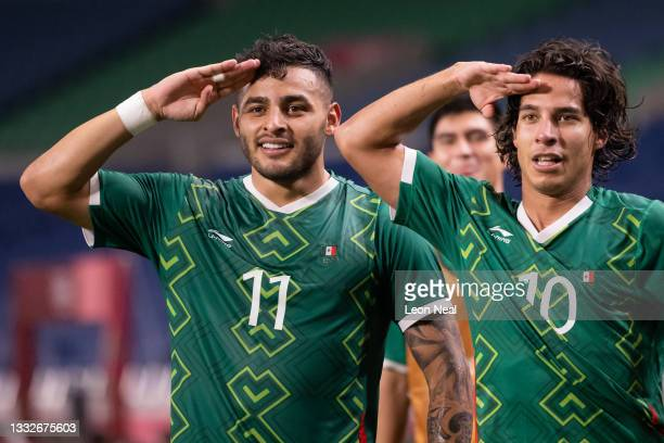 Alexis Vega of Team Mexico celebrates with Diego Lainez after scoring their side's third goal during the Men's Bronze Medal Match between Mexico and...