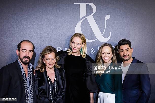 Alexis Veller Caroline Scheufele Uma Thurman Designers Tamara Ralph and Michael Russo pose backstage after the Ralph Russo Spring Summer 2016 show as...