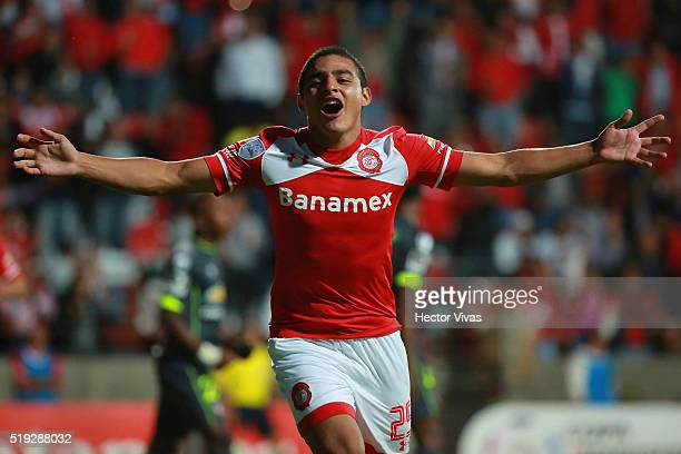 Alexis Vera of Toluca celebrates after scoring the first goal of his team during a match between Toluca and LDU Quito as part of the Copa Bridgestone...