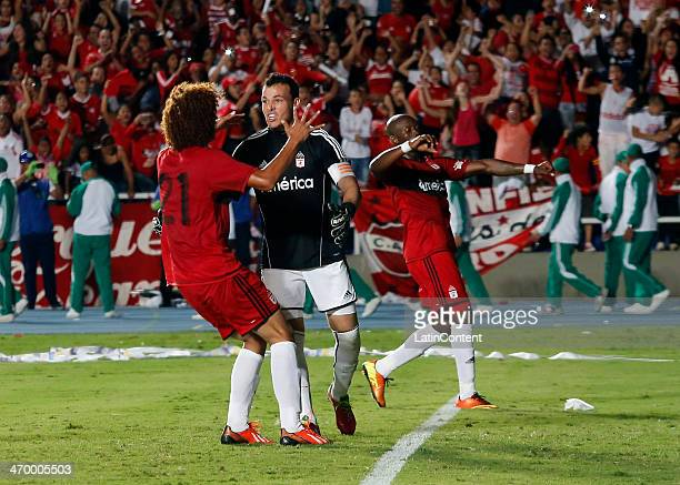 Alexis Vieira of America de Cali celebrates a scored goal with teammates during a match between America de Cali and Bogota as part of Torneo Postobon...