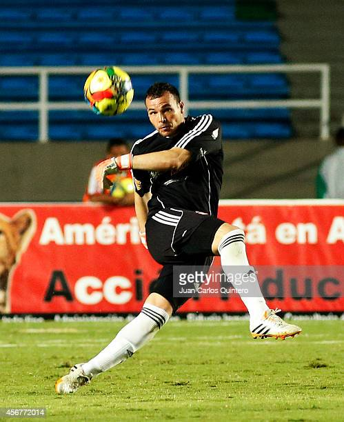 Alexis Viera goalkeeper of America de Cali kicks the ball during a match between America de Cali and Santander as part of 14th round of Torneo...