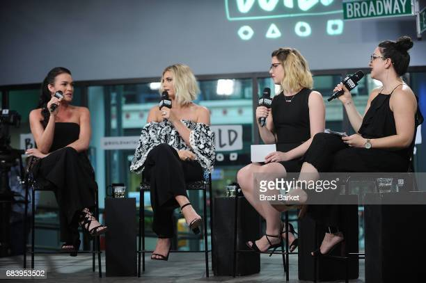 Alexis Waters Olivia Caridi Emma Gray and Claire Fallon discuss the 'Bachelorette' with the 'Here To Make Friends' Podcast at Build Studio on May 16...