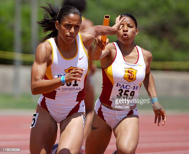 Alexis Weatherspoon of USC takes handoff from Tracee Thomas on the anchor of the women's 400-meter relay in the Pacific-10 Conference Track & Field...