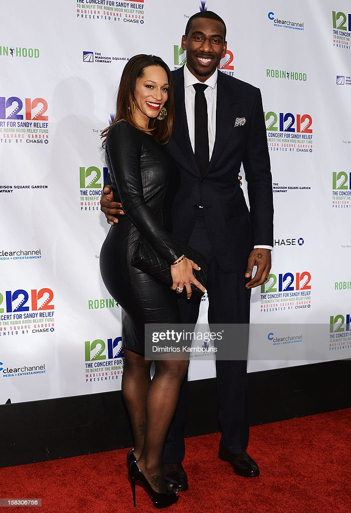Alexis Welch (L) and NBA player Amare Stoudemire attend '12-12-12' a concert benefiting The Robin Hood Relief Fund to aid the victims of Hurricane Sandy presented by Clear Channel Media & Entertainment, The Madison Square Garden Company and The Weinstein Company at Madison Square Garden on December 12, 2012 in New York City.