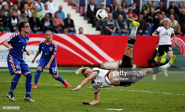 Alexndra Popp of Germany shoots on goal during the UEFA Women's Euro 2017 qualifier between Germany and Croatia at Osnatel Arena on April 12 2016 in...