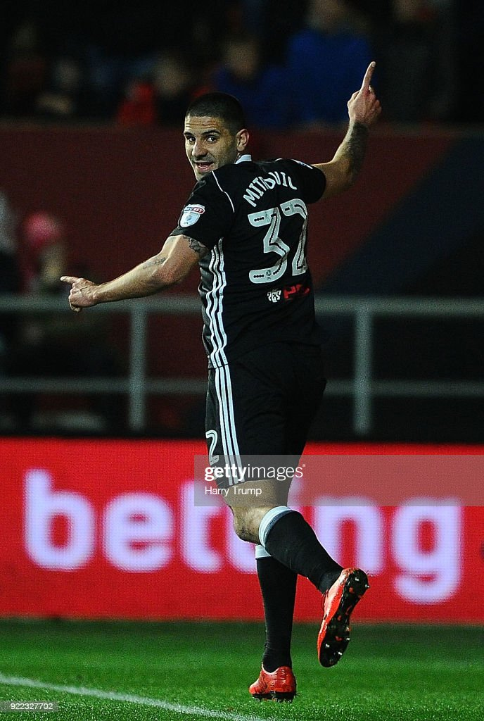 Alexsandar Mitrovic of Fulham celebrates after scoring his sides first goal during the Sky Bet Championship match between Bristol City and Fulham at Ashton Gate on February 21, 2018 in Bristol, England.