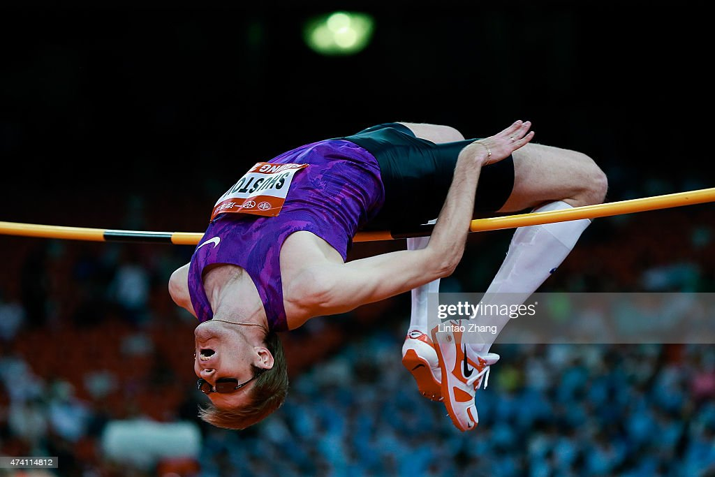 Alexsandr Shustov of Russia competes in the men's high jump event during the 2015 IAAF World Challenge Beijing at National Stadium on May 20, 2015 in Beijing, China.