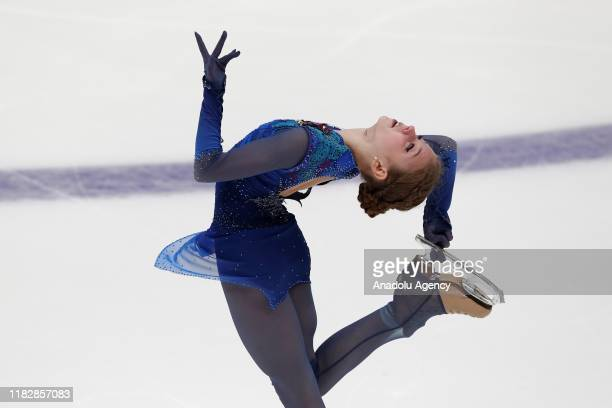 Alexsandra Trusova of Russia competes in the Ladies Free Skating program during the ISU Grand Prix of Figure Skating Rostelecom Cup at Megasport...